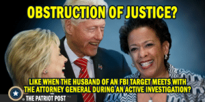 "Fbi, Fire, and Target: OBSTRUCTION OF JUSTICE?  LIKE WHEN THE HUSBAND OF AN FBI TARGET MEETS WITH  THE ATTORNEY GENERAL DURING AN ACTIVE INVESTIGATION?  THE PATRIOPOST .  - When they claim Obstruction of Justice, ""Oh you mean asking to fire someone, vs smashing phones, deleting 33,000 documents under subpoena, tarmac meetings, interview on 4th of July not under oath, can't recall, rigging elections, DWS fired over it.."