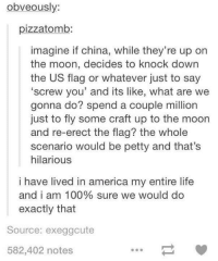 Thats Hilarious: obveously:  pizzatomb:  imagine if china, while they're up on  the moon, decides to knock down  the us flag or whatever just to say  'screw you' and its like, what are we  gonna do? spend a couple million  just to fly some craft up to the moon  and re-erect the flag? the whole  scenario would be petty and that's  hilarious  i have lived in america my entire life  and i am 100% sure we would do  exactly that  Source: exeggcute  582,402 notes