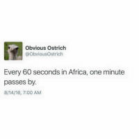 So true: Obvious Ostrich  @ObviousOstrich  Every 60 seconds in Africa, one minute  passes by  8/14/16, 7:00 AM So true