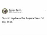 Ya learn something new everyday....: Obvious Ostrich  @ObviousOstrich  You can skydive without a parachute. But  only once. Ya learn something new everyday....