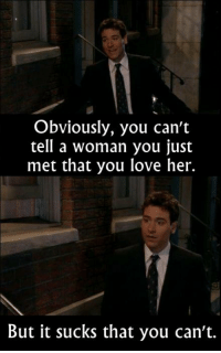 - How I Met Your Mother  Via The Best of TV: Obviously, you can't  tell a woman you just  met that you love her.  But it sucks that you can't. - How I Met Your Mother  Via The Best of TV