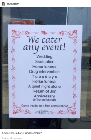 Being Alone, Free, and Horse: obviousplant  We cater  any event!  Wedding  Graduation  Horse funeral  Drug intervention  Tuesdays  Horse funeral  A quiet night alone  Return of Jim  Anniversary  (of horse funeral)  Come inside for a free consultation!  Anyone need a horse funeral catered?  Source: obviousplant Every event covered!