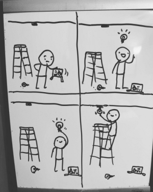 [OC] Every night, my middle school son draws a new comic on his bedroom door white board. They're pretty funny, so I started taking pics and posting them to an Instagram account . Here's today's post.: [OC] Every night, my middle school son draws a new comic on his bedroom door white board. They're pretty funny, so I started taking pics and posting them to an Instagram account . Here's today's post.