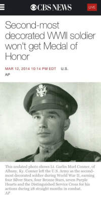 Ocbs News Live Second Most Decorated Wwll Soldier Won T Get Medal Of