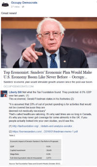 "Facebook, Fucking, and Funny: Occupy Democrats  27 mins  Great news!  Top Economist: Sanders' Economic Plan Would Make  U.S. Economy Boom Like Never Before - Occupy.  Sanders' economic plan would stimulate growth unseen since the post-war boom.  OCCUPYDEMOCRATS COM   Liberty Bill Not what the Tax Foundation found. They predicted-9.5% GDP  over ten years. (1)  This economist, Gerald Friedman states in his footnotes (2)  ""It is assumed that 20% of out of pocket spending is for activities that would  not be covered because they are  deemed not medically necessary""  That's called healthcare rationing. It's why wait times are so long in Canada  it's why you may never get coverage for some ailments in the UK. If you  people actually looked into your own studies, you'd see this  (1) http://taxfoundation.org/.../details-and-analysis-senator...  (2) https://berniesanders.com/../2016/01/friedman-memo-1.pdf  Table 2.  Economic Impact of Senator Sanders's Tax Reform Proposals  GDP  Capital Investment  Wage Rate  Full-time Equivalent Jobs (in thousands) 5,973  95%  -18.6%  -4.3%  Source: Tax Foundation Taxes and Growth Model, October 2015 <p><a class=""tumblr_blog"" href=""http://libertybill.tumblr.com/post/138963987622"">libertybill</a>:</p> <blockquote> <p><a class=""tumblr_blog"" href=""http://mil-spec-megucas.tumblr.com/post/138962430051"">mil-spec-megucas</a>:</p> <blockquote> <p><a class=""tumblr_blog"" href=""http://your-uncle-dave.tumblr.com/post/138961630169"">your-uncle-dave</a>:</p> <blockquote> <p><a class=""tumblr_blog"" href=""http://libertybill.tumblr.com/post/138960546652"">libertybill</a>:</p> <blockquote> <p><a href=""http://facebook.com/liberbill/"">Follow me on Facebook for extra liberty. </a><br/></p> </blockquote> <p><a class=""tumblelog"" href=""http://tmblr.co/mdeYjZupgVzyCfTgicZ-kGA"">@occupydemocrats</a>:  Y'all need to occupy an Econ 101 classroom.  Your ol' boy Red Bernie's a fuckup.</p> </blockquote> <p>Hey <a class=""tumblelog"" href=""http://tmblr.co/mIiX85InXZ_5gFO1XlH6zKA"">@libertybill</a> did you get banned yet from Occupy Democrats for giving em a dose of reality yet?</p> <p>Ya know what's funny tho, even politifact thinks Occupy Democrats is fucking trash.</p> </blockquote> <p>I think I did. I commented this last night and became the top commenters in about 15 minutes, no one is liking or responding the comment above, so I think they blocked me.</p> <figure data-orig-width=""645"" data-orig-height=""697"" class=""tmblr-full""><img data-orig-width=""645"" data-orig-height=""697"" src=""https://78.media.tumblr.com/ef8ee36e1d15db05231037c2513eeec3/tumblr_inline_o29eeyFuYm1r4a3sa_540.png""/></figure><figure data-orig-width=""617"" data-orig-height=""106"" class=""tmblr-full""><img data-orig-width=""617"" data-orig-height=""106"" src=""https://78.media.tumblr.com/b23c4543de969e26657ea13f168732a9/tumblr_inline_o29eex8kdv1r4a3sa_540.png""/></figure></blockquote>"