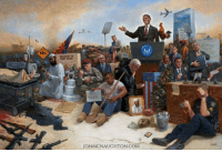 """Memes, Barack Obama, and Paint: OCCUPY  WORK  JON MCNAUGHTON COM When I painted """"Obamanation,"""" I chose to use an undisclosed studio so I could paint privately, without interruption, to focus on the task of embedding in a single painting all the subtle, mindless, radical, and dangerous atrocities of the Obama administration.  I am just one person, a citizen of this country using my first amendment rights to speak out through my art. This is my declaration that we have never had a president do more to harm our country than Barack Obama.  To those who scoff or wish to trivialize this painting, I challenge you--I DARE YOU--study the links of the various symbols and metaphors that you see. There are over 60 in the painting. No person can analyze this image and learn about these facts and still, in good conscience, support Obama and what he did during his presidency.  I do not hate Obama, but I hate the fact that I had to paint this picture. Has the painting gone too far? I knew when I did this that most Obama supporters would reject what I have done. But as a Conservative, I'm fed up with the corruption in Washington. And I'm sick of the political correctness that has derailed our country!  My art is an expression of the times in which I live and people will know how Jon McNaughton felt about being alive in America during the Obama administration.  Take the Challenge! If you still choose Obama, congratulations--you're a part of the Obamanation."""