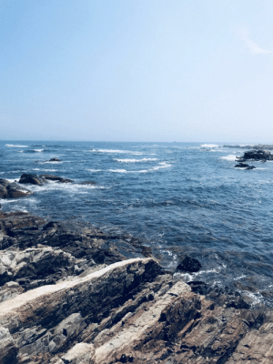 Maine, Ocean, and Rock: Ocean view from huge rock structure in Maine