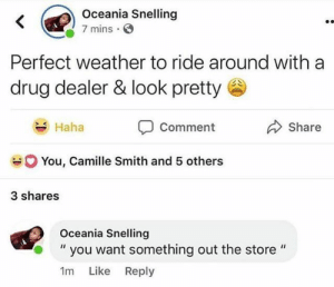 "Drug Dealer, Weather, and Drug: Oceania Snelling  7 mins E  Perfect weather to ride around with a  drug dealer & look pretty  Comment  You, Camille Smith and 5 others  Haha  Share  3 shares  Oceania Snelling  you want something out the store ""  1m Like Reply 