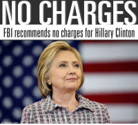 Memes, 🤖, and Criminal: OCHARG  FBI recommends no charges for Hillary Clinton  AP Photo Mohn Locher The FBI recommends no criminal charges in the Hillary Clinton email investigation 👀