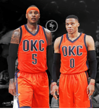 Basketball, Carmelo Anthony, and Memes: OCHE The Oklahoma City Thunder are reportedly 'intrigued' at the prospect of pairing Carmelo Anthony with Russell Westbrook even if it's a long shot.   Could this happen? What y'all guys think?   Image via Basketball Forever  - JLC Basketball.