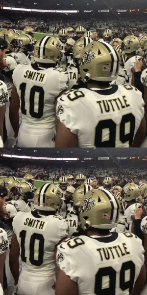 ".@demario__davis getting the @Saints AMPED UP. 🗣 #Saints  📺: #MINvsNO -- TODAY 1:05pm ET on FOX 📱: NFL app // Yahoo Sports app https://t.co/gZTa4L1xob: ""Ochsner 3  *PATRON SAINIS PARTNERS  Chevron  OAstate  SMITH  TA  TUTTLE   6PAIRON SATNIS PARENERS  ""Ochsner"" 3-  Chevron  Ostate  SMITH  TA  10  TUTTLE .@demario__davis getting the @Saints AMPED UP. 🗣 #Saints  📺: #MINvsNO -- TODAY 1:05pm ET on FOX 📱: NFL app // Yahoo Sports app https://t.co/gZTa4L1xob"