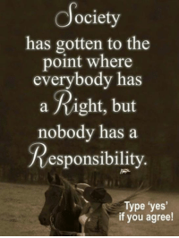 Memes, Responsibility, and 🤖: ociety  has gotten to the  point where  everybody has  a Right, but  nobody has a  Responsibility  Type 'yes  if you agree!
