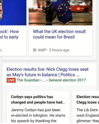 England, Future, and Memes: ock': How  What the UK election result  d to early  could mean for Brexit  AMP 2 hours ago  Election results live: Nick Clegg loses seat  as May's future in balance I Politics  LIVE The Guardian  General election 2017  Corbyn says politics has  Election resu  changed and people have had...  Clegg loses s  Jeremy Corbyn has just been  The Lib Dem  re-elected in Islington. He starts  west England  his speech by thanking the  glimmer: they Wow