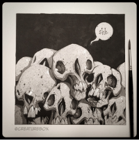 Inktober Day 28: Some nights you just need to draw a pile of skulls. 💀 Sumi ink on watercolor paper. inktober2016 inktober skull dontwakethedead: OCREATUREBOX  shh Inktober Day 28: Some nights you just need to draw a pile of skulls. 💀 Sumi ink on watercolor paper. inktober2016 inktober skull dontwakethedead