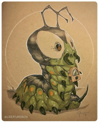 Memes, Radio, and Weird: OCREATUREBOX Someone commissioned a DC villain called Mister Mind. He's a caterpillar with an old radio necklace. Weird but cool. heroescon dc caterpillar 🐛
