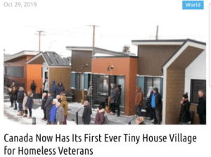 wholesome community: Oct 29, 2019  World  Canada Now Has Its First Ever Tiny House Village  for Homeless Veterans wholesome community