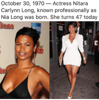 eur: October 30, 1970_Actress Nitara  Carlynn Long, known professionally as  Nia Long was born. She turns 47 today  tone  Eur  ke