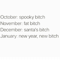 Bitch, New Year's, and Girl Memes: October: spooky bitch  November: fat bitch  December: santa's bitch  January: new year, new bitch Spooky season is upon us 👻👻👻