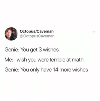 Aladdin, Math, and Octopus: Octopus/Cavemarn  @octopusCaveman  Genie: You get 3 wishes  Me: I wish you were terrible at math  Genie: You only have 14 more wishes why didn't aladdin think of this??