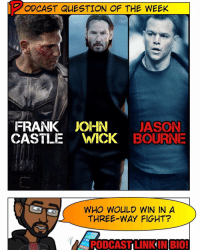 Ftw, Memes, and Money: ODCAST QUESTION OF THE WEEK  FRANK JOHN JASON  CASTILE  WICK  BOURNE  WHO WOULD WIN IN A  THREE WAY FIGHT?  PODCASTILINKINBIO! 🚨 [Podcast Link in BIO] Poll time, Super Friends: JohnWick v FrankCastle v JasonBourne - who wins? Guns and hand-to-hand allowed. -- Though this battle of white dudes with a particular set of skills is close ( Taken reference FTW) I'm gonna put my money on JohnWick. His headshot game is so broken he borderlines on GodMode in a FPS. 😂 He only seems to miss when the plot forces him to. Lol. But what do you guys think? -- And be sure to listen to our latest podcast for last week's Podcast Question results and our review of JohnWick2! Subscribe on iTunes & Soundcloud and leave a review (we read them on-air)!