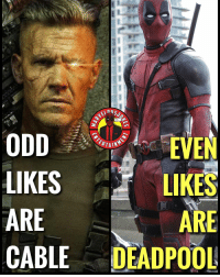 Memes, Deadpool, and Time: ODD  LIKES  ARE  CABLE DEADPOOL  EVEN  LIKES  ARE  ERTAIN Time Traveler or Chimichanga Champion? MarvelousJokes