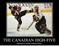 high five: Odd  THE CANADIAN HIGH-FIVE  Because in Canada, stitches are free