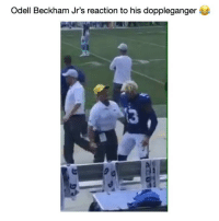 Football, Funny, and Twitter: Odell Beckham Jr's reaction to his doppleganger  3 He peeped like, 😮🤣 (Credit: Football Animal-Twitter)