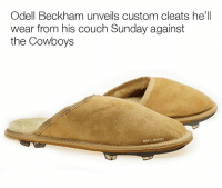 "Memes, Couch, and 🤖: Odell Beckham unveils custom cleats he'll  wear from his couch Sunday against  the Cowboys  ONFL MEMES The ""Home Couch Advantage 2's"""