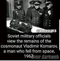 Put a band aid on it and you'll be good to go. -fer: ODMR,DARK WEB  Soviet military officials  view the remains of the  cosmonaut Vladimir Komaroy,  a man who fell from space,  1967  omr.darkWeb Put a band aid on it and you'll be good to go. -fer