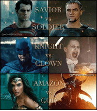 "Amazon, Batman, and Complex: ODWONDERVAUGHN  SAVIOR  ODDLER  VS  CLOWN  AMAZO  GOD  @WONDER VAUGHN HEROES ARE DEFINED BY THEIR VILLAINS ""Evil is relative - DC villains are as complex, as deep and as compelling as any of the heroes. Every antagonist in the DC Universe has a unique darkness, desire and drive."" - Geoff Johns * KRYPTONIANS: Kal-El (@cavillled and Dru-Zod ( michaelshannon) * HUMANS: Batman (@benaffleck) and Joker (@jaredleto) * OLYMPIANS: Diana (@gal_gadot) and Ares () **To clarify, yes Diana IS a Goddess but she was raised an AMAZON, and fought as an AMAZON. Being an AMAZON defines who she is above being a Goddess. ** *** mywonderwoman girlpower women femaleempowerment MulherMaravilha MujerMaravilla galgadot unitetheleague princessdiana dianaprince amazons amazonwarrior manofsteel thedarkknight generalzod zod michaelshannon clownprinceofcrime jaredleto ares godofwar goddess god human kryptonian"