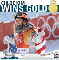 Snowboarding prodigy Chloe Kim landed a gold medal in women's halfpipe in Pyeongchang, South Korea, becoming the the youngest woman to win an Olympic snowboarding medal.: OE  WINS GOLD  uri S  Chang 2018  #WinterOlympics  EWS Snowboarding prodigy Chloe Kim landed a gold medal in women's halfpipe in Pyeongchang, South Korea, becoming the the youngest woman to win an Olympic snowboarding medal.