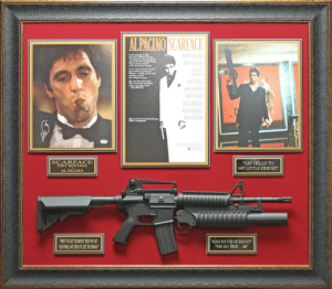 """Al Pacino, Bad, and Hello: of 1980,  the port at  set sail for the United States.  They came in search  the American Dream.  One of them found it on the  Miami... wealth, power and  He was Tony Montana  The world will remember  him by another name  RIAN DE PALM  He loved the American Dream.  SCARFACE  TONY MONTANA  AL PACINO  """"SAY HELLO TO  MY LITTLE FRIEND""""  FIRST YOUGET THE MONEY,THEN YOU GET  THEPOWER,AND THEN YOU GET THE WOMAN  MAKE WAY FOR THE BAD GUY""""  WHO DO I TRUST...ME"""