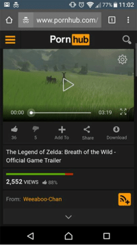 Breath Of The Wild: OF 77% 11:02  www.pornhub.com/  Porn  hub  00:00 03:19  36  Add To  Download  Share  The Legend of Zelda: Breath of the Wild  Official Game Trailer  2,552 VIEWS 88%  From: Weeaboo Chan