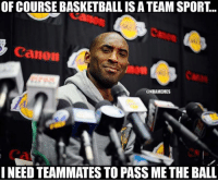 Mood Whoseup: OF COURSE BASKETBALL IS A TEAM SPORT...  Canon  @NBAMEMES  NEED TEAMMATES TO PASS ME THE BALL Mood Whoseup