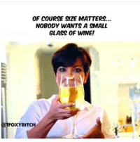 Memes, Wine, and 🤖: OF COURSE SIZE MATTERS...  NOBODY WANTS A SMALL  GLASS OF WINE!  1FOXYBITCH Any who says size doesn't matter is a liar! Repost from my little minx @1foxybitch 😍 Make sure you're following her! @1foxybitch @1foxybitch @1foxybitch @1foxybitch 1foxybitch fabsquad goodgirlwithbadthoughts 💅🏻