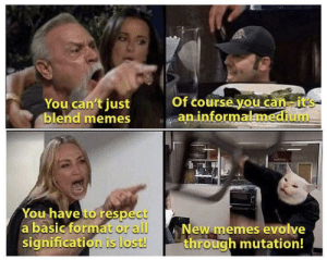 More of the best memes at http://mountainmemes.tumblr.com: Of course you can it's  an informalmedium  You can't just  blend memes  You have to respect  a basic format or all  signification is lost!  New memes evolve  through mutation! More of the best memes at http://mountainmemes.tumblr.com