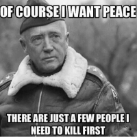 America, Friends, and Memes: OF COURSED WANT PEACE  THERE ARE JUSTA FEW PEOPLE  NEED TO KILL FIRST . www.tacticalgunners.com ✅ Double tap the pic ✅ Tag your friends ✅ Check link in my bio for badass stuff - american veteran veterans freedom military soldier warrior hero heroes patriot america usa merica enlist