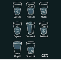 Water, Glass, and Security: of  er  Optimist Pessimist Realist  Gas  PhySicist Surrealist Relativist  ts  Airport  Utopist Scepticist Security My glass of water