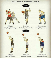I blame Steph Curry 😂 - Follow @_nbamemes._ 🔥: OF EVOLUTION OF BASKETBALL STYLE  Before  Small guys  Tall guys.  Strong fat guys:  Using height advantage  Cut inside, kick out the ball  Pump fake, powermove  Nowadays  Small guys:  Tall guys  Strong fat guys  Shoot the 3-pointer  Shoot the 3-pointer  Shoot the 3-pointer I blame Steph Curry 😂 - Follow @_nbamemes._ 🔥