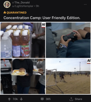 Bulls, Seal, and Camp: OF THE GNI  r/The_Donald  ESIDENT  u/LightsHemplar 9h  STATES  SEAL  A QUARANTINED  Concentration Camp: User Friendly  Edition.  AR  40  Tropica  AI  BULLS  T Share  7.0k  385 Really?