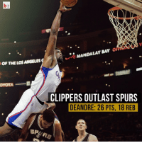 DeAndre Jordan tried jumping over Tim Duncan in the Clippers 119-115 win. 🏀😂: OF THE LOS ANGELES  OYOTA  SP  MANDALAY SAY  OFF  CLIPPERS OUTLAST SPURS  DEANDRE: 26 PTS, 18 REB DeAndre Jordan tried jumping over Tim Duncan in the Clippers 119-115 win. 🏀😂