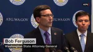 "Tumblr, Blog, and Ferguson: OF W  ASINGLE  КСРО  WASHING  TG.WA.GOV  ATG.WA.GOV  RNEY  Bob Ferguson  GEA  Washington State Attorney General  WASHING  OF  TTOR  OF W  AL sashayed:  samanthabeeismyqueen:  Washington state AG Bob Ferguson's response to Trump's tweet 👌  ""In response to the President's tweet – well. W–uhh…ha. We have seen him in court, twice, and we're two for two."""