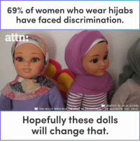 "Memes, Muslim, and Help: of women who wear hijabs  have faced disCriminafion.  69%  attn:  COURTESY OF SALAM SISTERS  WASHINGTON POST (2016)  ""HOW MUSLIM WOMEN BEARTH  Hopefully these dolls  will change that 69% of women who wear hijabs have faced discrimination. These dolls want to help change that."