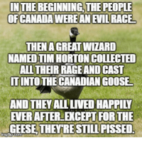 Canadian, Evil, and Race: OFCANADA WERE AN EVIL RACE  THENAGREAT WIZARD  NAMED TIM HORTON COLLECTED  ALL THEIR RAGE AND CAST  IT INTO THE CANADIAN GOOSE  AND THEY ALL LIVED HAPPILY  EVERAFTER EXCEPT FORTHE  GEESE THEYRESTILL PISSED