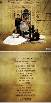 Offset is dropping 'Father of 4' at midnight 👀 @OffsetYRN https://t.co/4HpEgYOzZ7: OFESET  FATHER OF 4 I 1 1 H  PARENTAL  ADVISORY  EXPLICIT CONTENT   1. FATHER OF 4  2. HOW DID I GET HERE  3. LICK  4. TATS ON MY FACE  5. MADE MEN  6. WILD WILD WEST  7. NORTH STAR  8. AFTER DARK  9. DONT LOSE ME  10.UNDERRATED  11. LEGACY  12. CLOUT  13. ON FLEEK  14. QUARTER MILLI  15. RED ROOM  16. CAME A LONG WAY Offset is dropping 'Father of 4' at midnight 👀 @OffsetYRN https://t.co/4HpEgYOzZ7