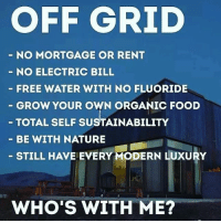 Who wants to make this happen?! 🙏💯: OFF GRID  NO MORTGAGE OR RENT  NO ELECTRIC BILL  FREE WATER WITH NO FLUORIDE  GROW YOUR OWN ORGANIC FOOD  TOTAL SELF SUSTAINABILITY  BE WITH NATURE  STILL HAVE EVERY MODERN LUXURY  WHO'S WITH ME? Who wants to make this happen?! 🙏💯