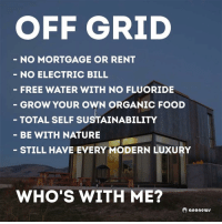 "Memes, A Lot Less, and 🤖: OFF GRID  NO MORTGAGE OR RENT  NO ELECTRIC BILL  FREE WATER WITH NO FLUORIDE  GROW YOUR OWN ORGANIC FOOD  TOTAL SELF SUSTAINABILITY  BE WITH NATURE  STILL HAVE EVERY MODERN LUXURY  WHO'S WITH ME?  anonewr Selling two homes to create one beautiful container home 🏡 that will recycle ♻️ my water at least 4 times before it's last destination to the garden, I will have both solar and wind to generate power and perhaps work on a simple magnetic turbine as well, and all this will be created with no payments. I've sacrificed so much over the last few months to reach my goal. I stoped buying wasteful things and cut down on luxuries like sport cars and expensive meals. Home cooking vegan meals and a Prius has saved me thousands of dollars. Sport = expensive oil, parts, tires and modifications. Home cooking and buying food in a large quantity saves you hundreds of dollars a week and will also save you from going to doctors each and every year. Everyone in the States thinks of this ideology that you have to make 6 figures to become sustainable or live debt free and that can not be further from the truth. If all you do is consume than yes you will need to make a lot of money, but if you are resourceful and sustainable in what you have you can achieve this lifestyle so much easier with a lot less stress. Like I said before I do not just post this memes for followers, I take action to connect with my followers and show you that there is way. One of my favorite quotes is ""In a age of information ignorance is a choice"". Because if you truly want something you will research it, educate yourself and imply it to your life actions. bethechange fuckthesystem standup911"