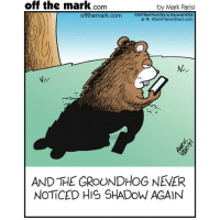 Memes, aol.com, and 🤖: off the mark Com  by Mark Parisi  offthemark.com  2017Mark Parisi Dist by Universal UClick  2.2 Mark Parisi (@aol.com  AND THE GROUNDHOG NEVER  NOTICED HIS SHADOW AGAIN Problem solved.