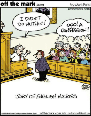 Dindu nuffin: off the mark.com  by Mark Parisi  offthemark.com  I DIDN'T  DO NUTHIN!  ooo! A  CONFESSION!  MARK  JURY OF ENGLISH MASORS  0200Mark Pari Des by Andrews MeMeel Snd offthemark.com 731 otmCarloon@9mail.com Dindu nuffin