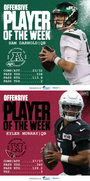 Offensive Players of the Week (Week 6):  AFC: @nyjets QB Sam Darnold NFC: @AZCardinals QB @K1   (by @Headshoulders) https://t.co/FjkhgvLrbc: OFFENSIVE  JET  PLAYER  OF THE WEEK  SAM DARNOLD | QB  WEEK PLAYER  NEW YOR  JETS  EEK PLA  COMP/ATT.  PASS YDS.  PASS RTG.  23/32  . . 338  113.8  PASS TDS  2  head&  shoulders  Walmart  PRESENTED BY  OF  THE  THE   NFL  OFFENSIVE  CANDINALS  PLAYER  OF THE WEEK  KYLER MURRAY | QB  WVB  CARDINALS  27/37  . . 340  COMP/ATT  PASS YDS.  PASS RTG.  128.2  3  TDS..  head&  shoulders  Walmart  PRESENTED BY  THE  OF  THE Offensive Players of the Week (Week 6):  AFC: @nyjets QB Sam Darnold NFC: @AZCardinals QB @K1   (by @Headshoulders) https://t.co/FjkhgvLrbc
